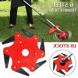 6 Steel Blades Razors 65Mn Lawn Mower Trimmer Head Grass Wee