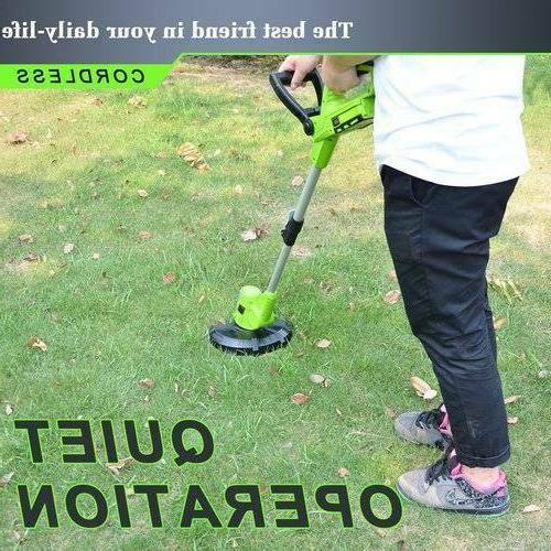Cordless Edger with Lawn Grass